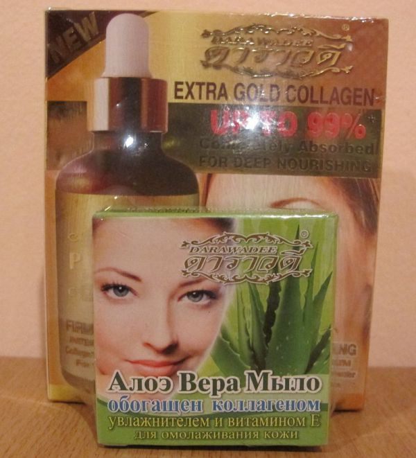Darawadee Extra Gold Collagen 50мл+Aloe Vera Soap