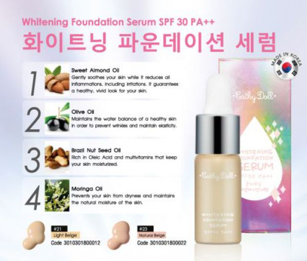 Cathy Doll Whitening Foundation Serum SPF30 PA++ 5мл
